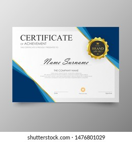 Certificate Premium template awards diploma background vector modern value design and layout luxurious.cover leaflet elegant horizontal Illustration in size pattern.