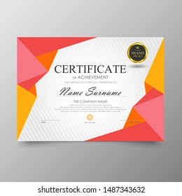 Certificate Premium template awards diploma background vector modern value design and layout luxurious. cover leaflet elegant horizontal Illustration in size pattern.