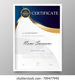 Certificate Premium template awards diploma background vector modern value design and layout luxurious.cover leaflet elegant vertical Illustration in size pattern.