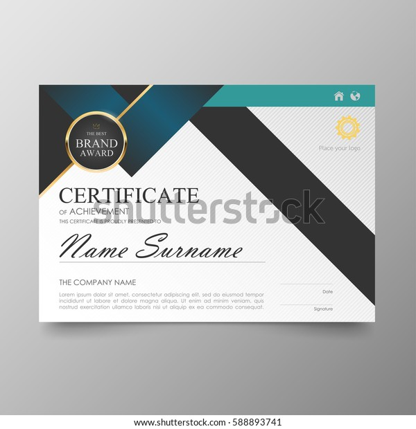Certificate Premium template awards diploma background. vector modern value design and layout. luxurious cover leaflet elegant horizontal Illustration