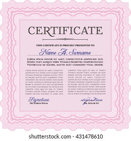 Certificate. Printer friendly. Detailed. Complex design. Pink color.