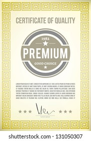Certificate of quality on vintage paper