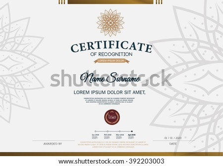 Certificate RECOGNITION Frame Design Template Layout Stock Vector ...