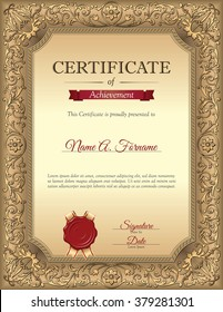 certificate of recognition template with vintage floral frame portrait