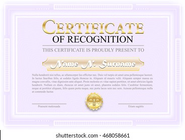 Certificate of Recognition vector illustration