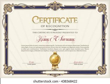 Certificate of Recognition Vintage Frame.