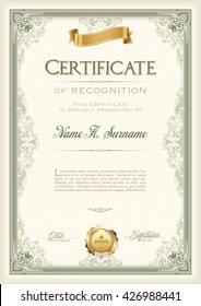 Certificate of Recognition Vintage Frame with Gold Ribbon. Portrait.