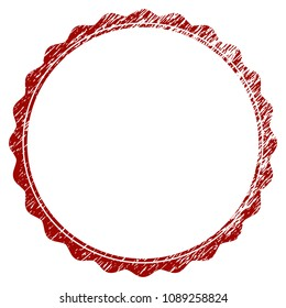 Certificate rosette circular frame grunge textured template. Vector draft element with grainy design and corroded texture in red color. Designed for overlay watermarks and rubber seal imitations.