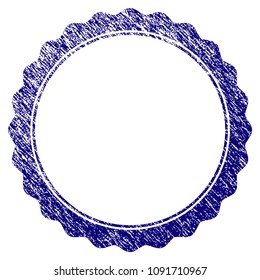 Certificate rosette circular frame grunge textured template. Vector draft element with grainy design and dust texture in blue color. Designed for overlay watermarks and rubber seal imitations.