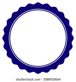 Certificate rosette circular frame template. Vector draft element for stamp seals in blue color.