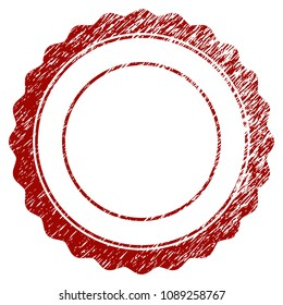 Certificate rosette frame distress textured template. Vector draft element with grainy design and distressed texture in red color. Designed for overlay watermarks and rubber seal imitations.
