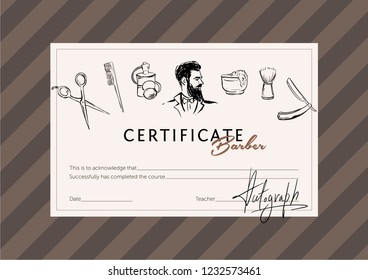 Certificate for the school of stylists and barbers.