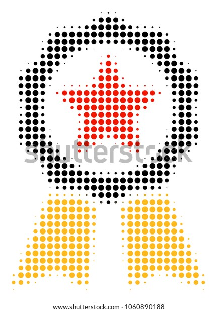 Certificate Seal halftone vector icon. Illustration style is dotted iconic Certificate Seal icon symbol on a white background. Halftone matrix is round spots.