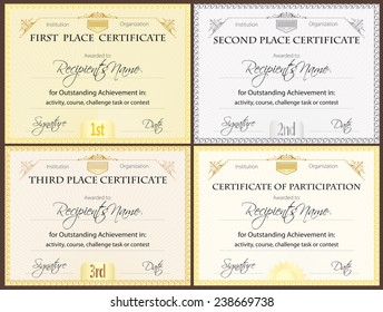 Certificate set of four