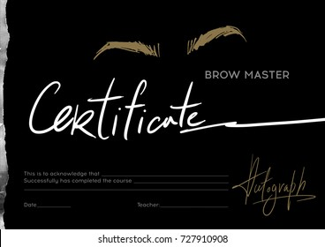 Certificate stylist on the eyebrows on a black background