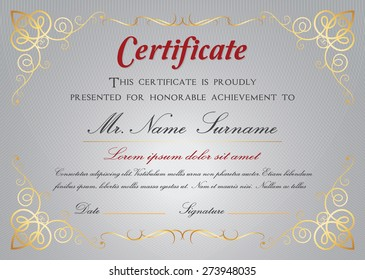Certificate template A4 size +Bleed CMYK color mode, Vector illustration