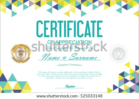 Geometric Certificate Vector Template Abstract Pictures Www