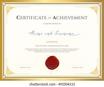 Certificate template for achievement, appreciation, completion or participation with applied Thai frame and red wax seal