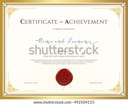 certificate template achievement appreciation completion