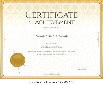 Certificate template for achievement, appreciation, participation or completion in applied Thai art line theme