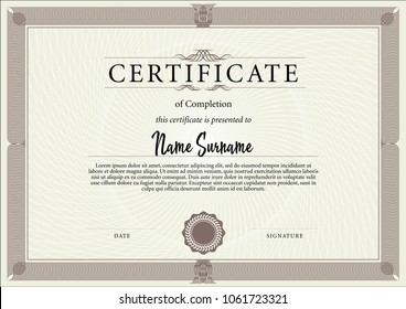Certificate template in for achievement graduation completion and diplomas. Vector illustration. Strict, simple symmetrical design of certificate.