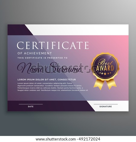 certificate template award symbol stock vector royalty free