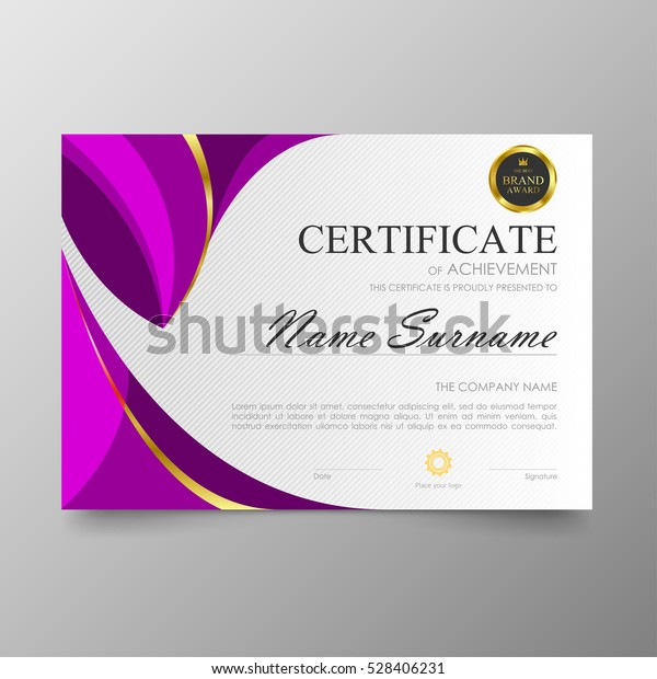 Certificate Template Awards Diploma Background Vector Stock
