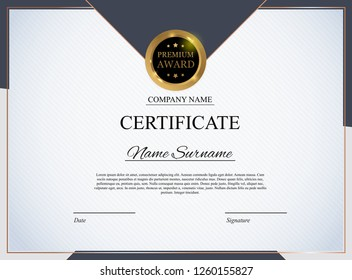 Certificate template Background. Award diploma design blank. Vector Illustration EPS10