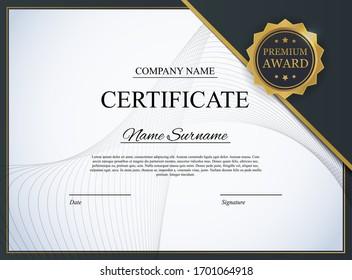 Certificate template Background. Award diploma design blank. Vector Illustration EPS10