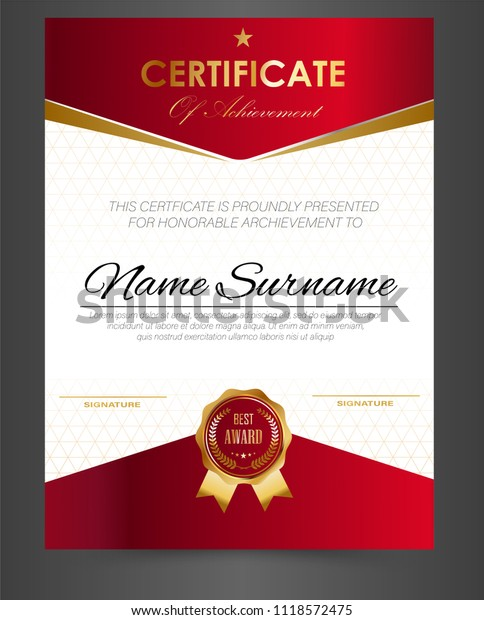 Certificate Template Design A4 Size Stock Vector (Royalty Free