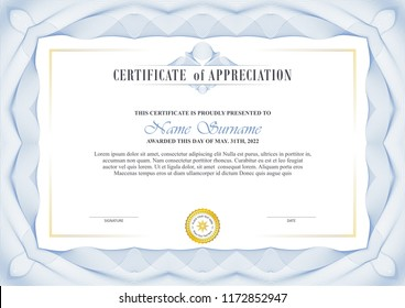 certificate template design with decorative guilloche border or frame, trendy, simple and elegant design