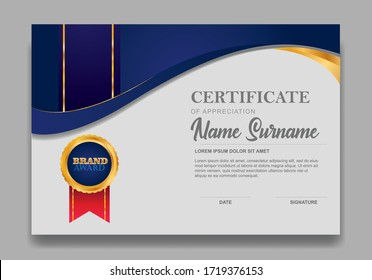 Certificate template design. Diploma of modern design or gift certificate. Vector illustration.