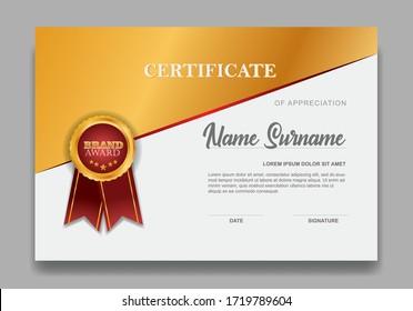 Certificate template design. Diploma of modern design or gift certificate. Vector illustration.