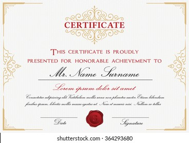 certificate template design with emblem flourish border on white background a4 size