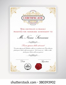 Certificate template design with emblem, flourish border on white background. A4 size.
