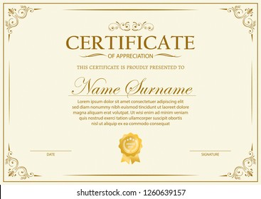 Certificate. Template diploma currency border. Award background Gift voucher. Vector illustration. - Vector
