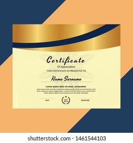 Certificate. Template diploma currency border. Certificate of Appreciation golden vector design
