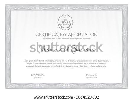 Certificate Template Diploma Currency Border Award Stock Vector