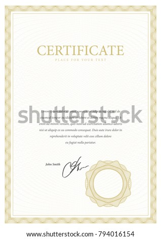 certificate template diploma currency border award のベクター画像