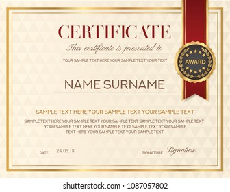 Certificate template, Diploma design with emblem, red ribbon, certificate of appreciation, certificate of achievement, certificate of completion, of excellence, of attendance template, award template
