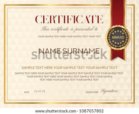Certificate Template Diploma Design Emblem Red Stock Vector Royalty
