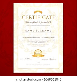 Certificate template, Diploma design with gold border (frame), certificate of appreciation, certificate of achievement, certificate of completion, of excellence, of attendance template, award template