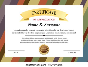 certificate template, diploma design, success , award,  graphic background, warranty vector design.