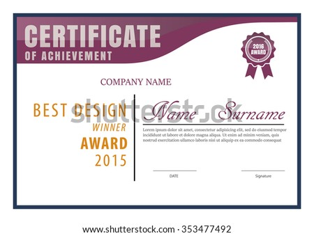 Certificate Template Diploma Layout A 4 Size Stock Vector Royalty