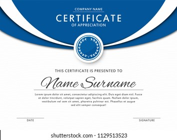 Certificate template in elegant blue color with medal and abstract borders, frames. Certificate of appreciation, award diploma design template. Vector
