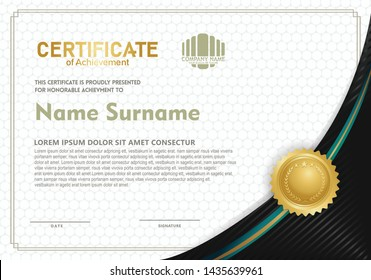 Certificate template with elegant and futuristic with trendy and modern background.