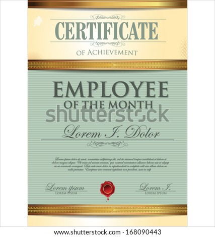 Certificate Template Employee Month Stock Vector Royalty Free