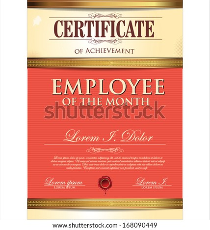 Employee Of The Month Template | Certificate Template Employee Month Stock Vektorgrafik Lizenzfrei