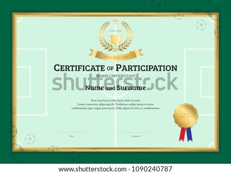 certificate template football sport theme green stock vector