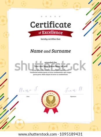 certificate template football sport theme ball stock vector royalty